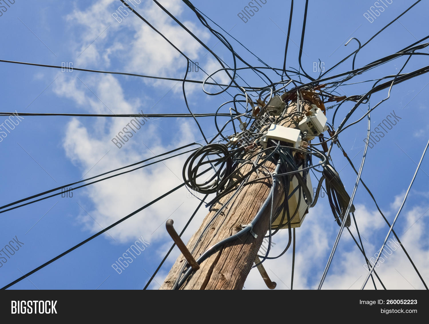 Dangerous Mess Image Photo Free Trial Bigstock Electrical Wiring Of Electric Cables With The Sky In Background