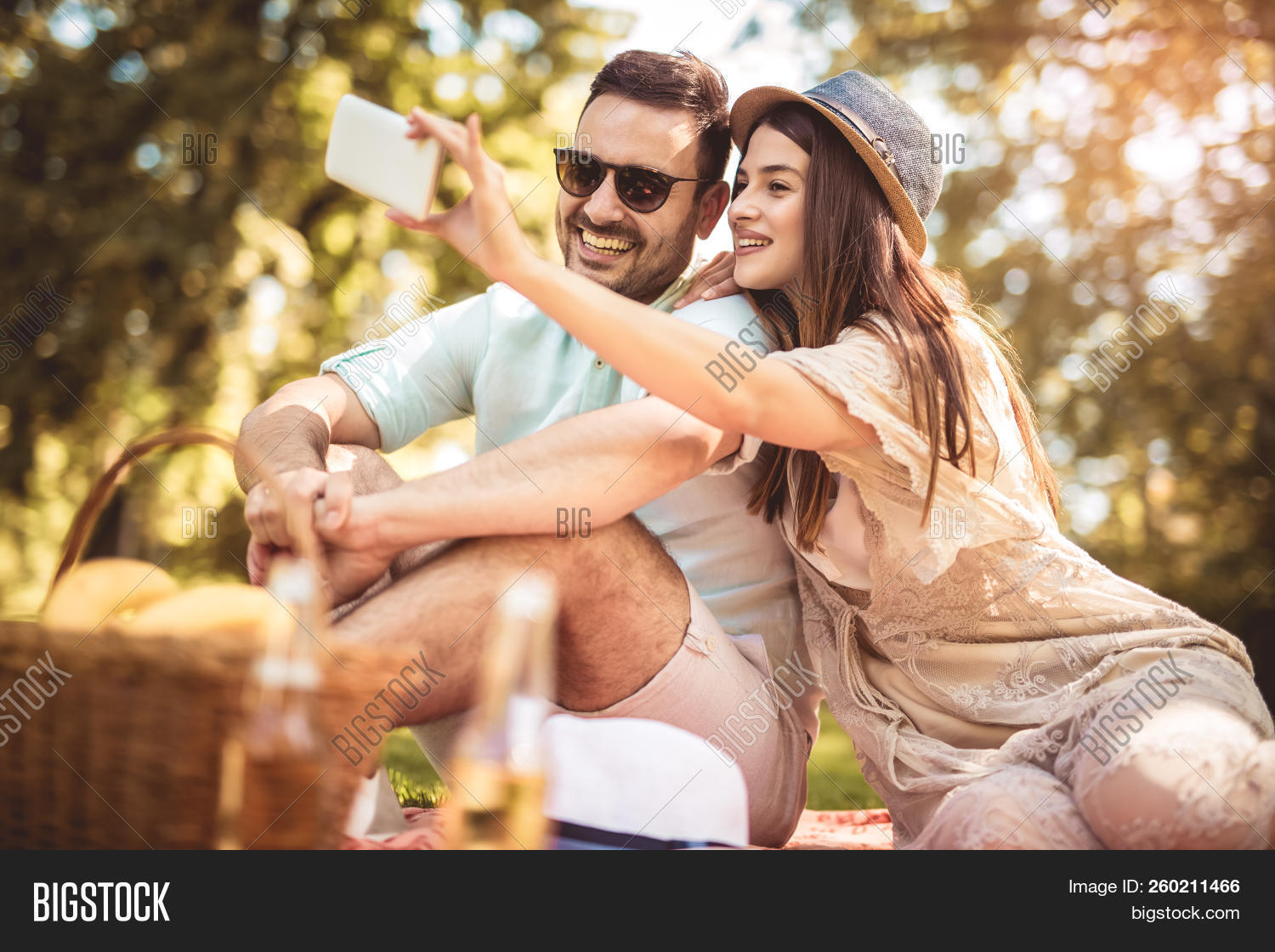 Couple Lying On Picnic Image Photo Free Trial Bigstock