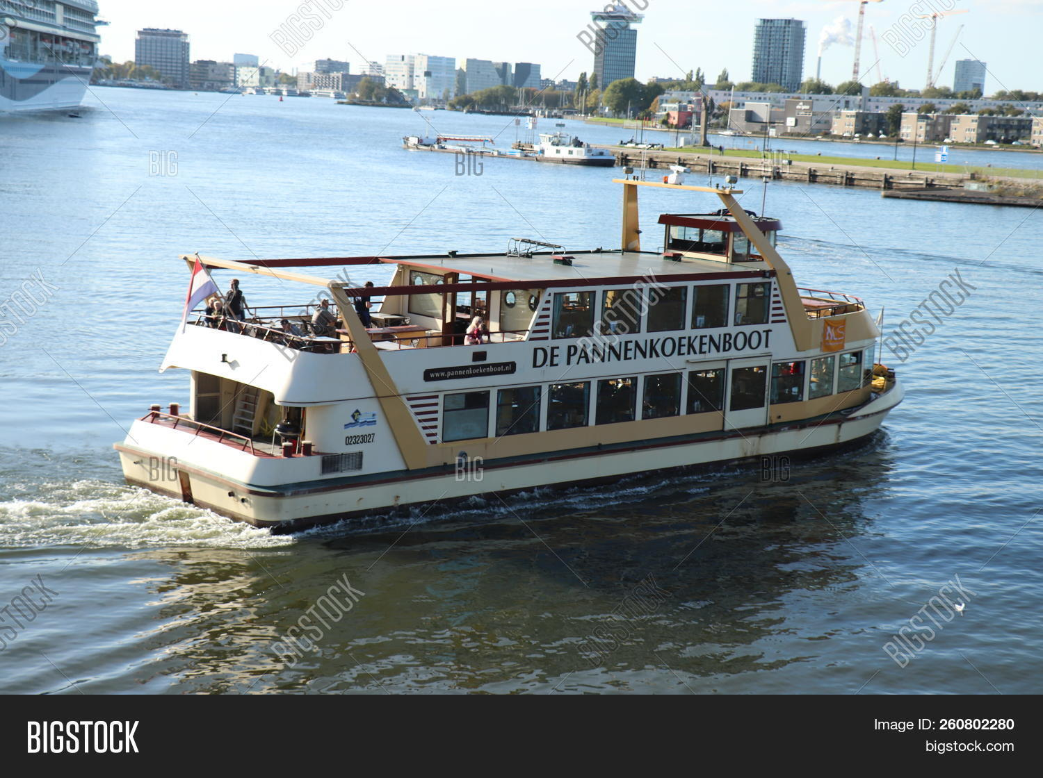 Amsterdam, The Netherlands - September 29th 2018  Pannenkoekenboot (Pancake  boat) near the Passenger Terminal Amsterdam. The pannenkoekenboat is a ... cb6b5f1def