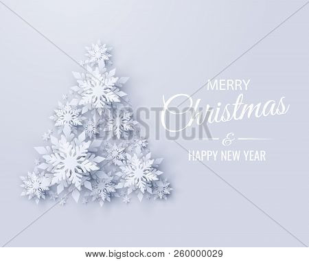 Vector Merry Christmas And Happy New Year Greeting Card Design With Christmas Tree Made Of Realistic