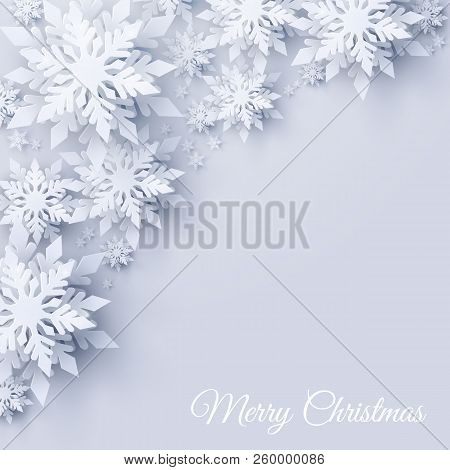 Vector Merry Christmas And Happy New Year Greeting Card Design With Realistic Looking Paper Cut Snow