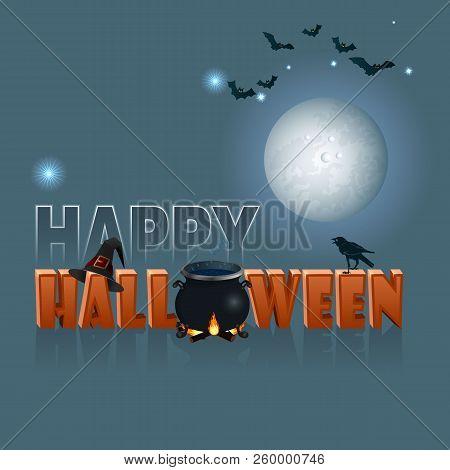 Festive Halloween Card On Blue Background. Vector Illustration.