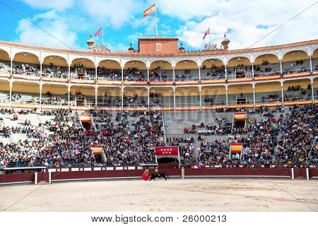MADRID - OCTOBER 17: Bullfighter  fights for a sold out crowd at the Plaza del Toros de Las Ventas,  October 17, 2010 in Madrid, Spain.