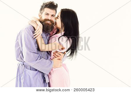 Relations Goals Concept. Couple In Love Hugging In Pajama, Bathrobe. Couple Cuddling, Girl Kissing M