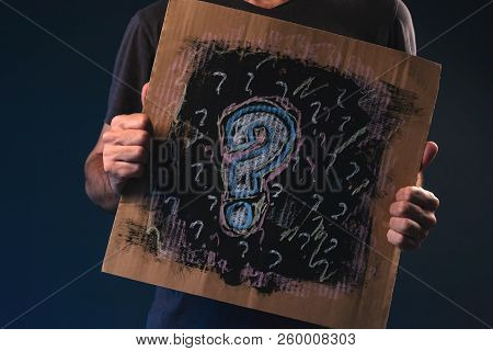 Man Asking Questions, Male Person Holding Cardboard Paper With Question Mark