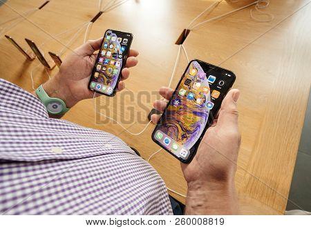 Strasbourg, France - Sep 21, 2018: Senior Man Pov Compare On The New Telephones In Apple Store Admir