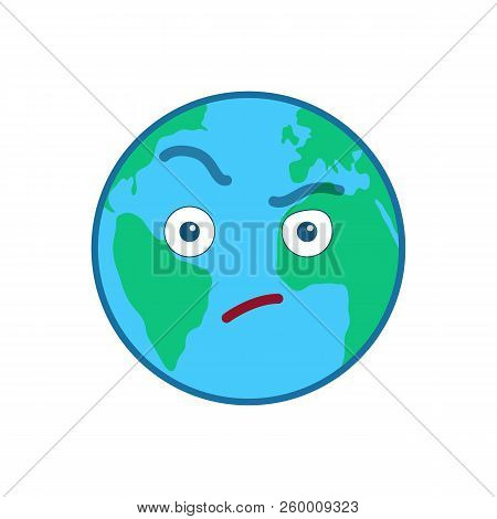 Suspecting World Globe Emoticon. Envious Blue Planet Emoji. Social Communication And Weather Widget.