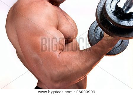 Man with a bar weights in hands training, isolated on white