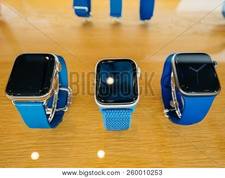 Strasbourg, France - Sep 21, 2018: Apple Store The New Latest Apple Watch Series 4 Wearable Personal