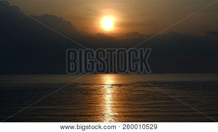 poster of Sunset. Beautiful sunset Baltic Sea. sunset with background sunset. Painting Sea sunset. The sea at sunset. Amazing bokeh backgroundsea sunset. Summer Sunset. Beautiful seascape evening sunset sea and sky horizon.