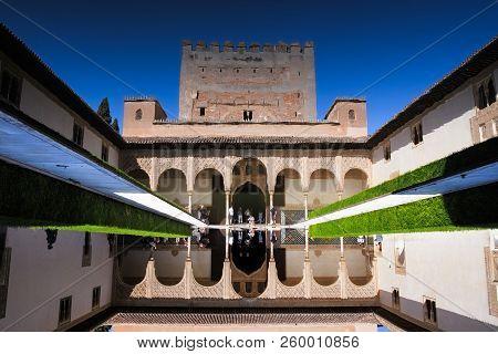 Granada, Spain, September 23, 2018 Courtyard Of The Myrtles Patio De Los Arrayanes In La Alhambra On