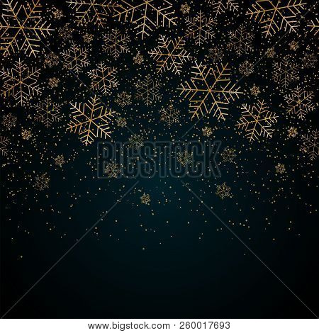 Christmas New Year Background With Gold Snowflakes And Glitter Blue Festive Winter Background Christ