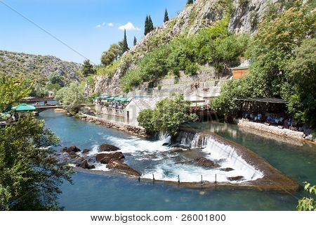 Waterfall on source of the Buna river near Mostar. Bosnia and Herzegovina poster
