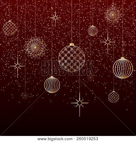 Christmas Background Gold Balls Toys Stars Snow Glitter On A Red Background A Festive Background For