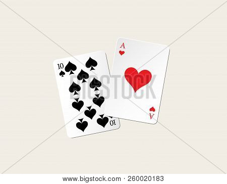 Twenty One Points Blackjack Combination. Vector Gambling Illustration.
