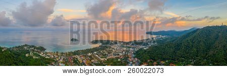 aerial view sunrise in Chalong sea Phuket big Buddha is on the top of Nakkerd mountain.Phuket big Bu