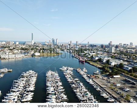 Aerial view of boating docks