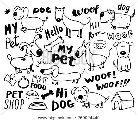 Funny Dogs Doodle Set. Hand Drawn Sketched Pets Collection Vector Illustration On White Background