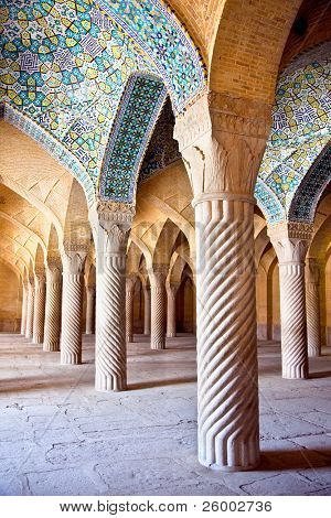 Vakil Mosque, Shabestan, pillars of Prayer Hall , Shiraz, Iran poster