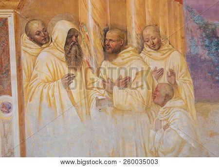 Fresco In Monte Oliveto Maggiore - Scene In The Life Of St Benedict