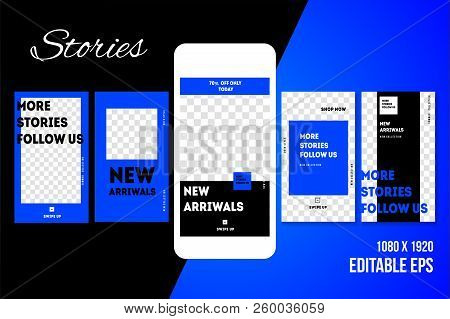 Editable Social Media Stories For Phone  Vector
