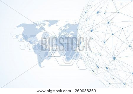 Internet Connection Background, Abstract Sense Of Science And Technology Graphic Design. Global Netw