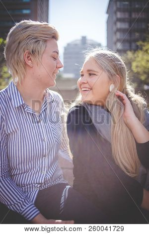 Close Up Image Of A Same Sex Female / Lesbian Couple Enjoying Sightseeing In The Cape Town South Afr