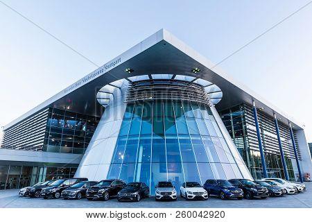 Stuttgart, Germany - September 07, 2018: Mercedes Benz Headquarters At Dusk. Mercedes Benz Is A Glob