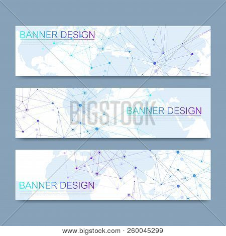 Vector Banners Set Hi-tech Digital Technology And Engineering Background. Digital Telecom Technology