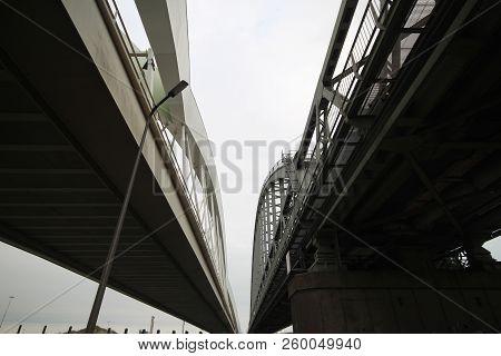 White Bridges For Trains Between Amsterdam And Utrecht Named Demkabrug And Werkspoorbrug In Utrecht