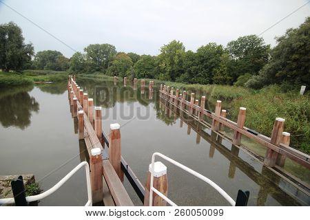 Sluice Complex Gojanverwellesluis In River Hollandsche Ijssel At Gouda Where Tide River Will Change