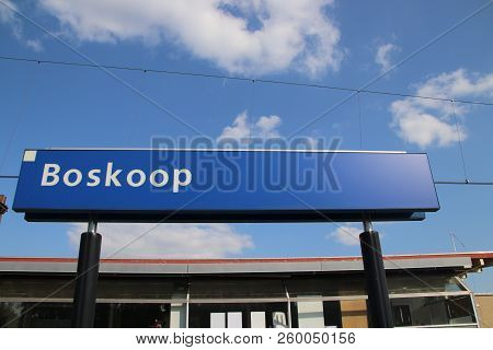 Name Sign On The Station Boskoop On The R-net Train Between Gouda And Alphen Aan Den Rijn Which Is F