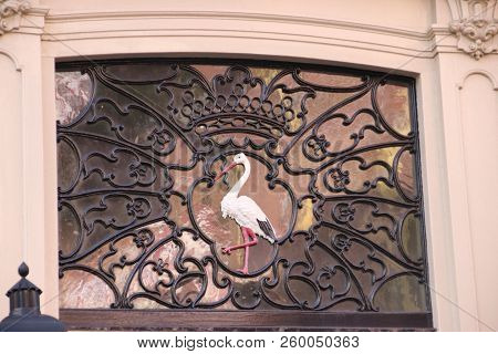 A Stork In The Old Crest Of The Municipality Of The Hague, The Netherlands On The Old Town Hall