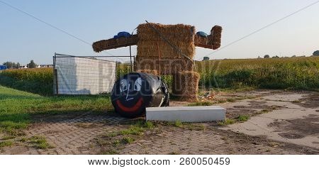 Big Mascotte Build Of Straw Was Destroyed In The Night By Drunk Young People In Zevenhuizen