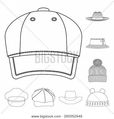 Vector Illustration Of Headgear And Cap Icon. Set Of Headgear And Accessory Stock Vector Illustratio