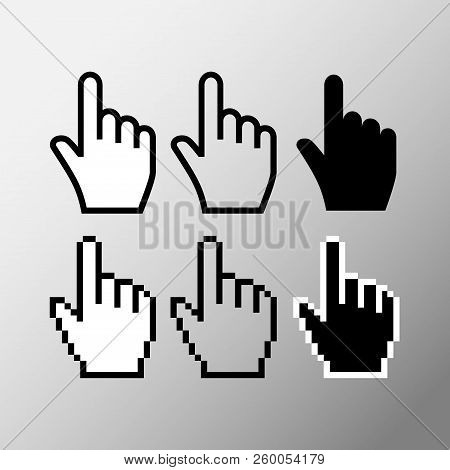 Hand Mouse Cursor Icon. Pointer Hand Cursor Icons, Black, White And Transparent Pixelated Vector Han