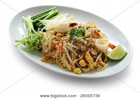Pad thai, Stir fry noodles  with shrimp poster