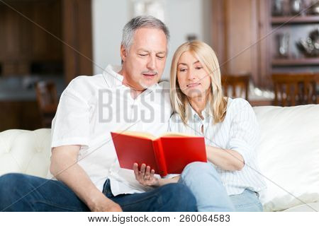 Portrait of an happy mature couple reading a book
