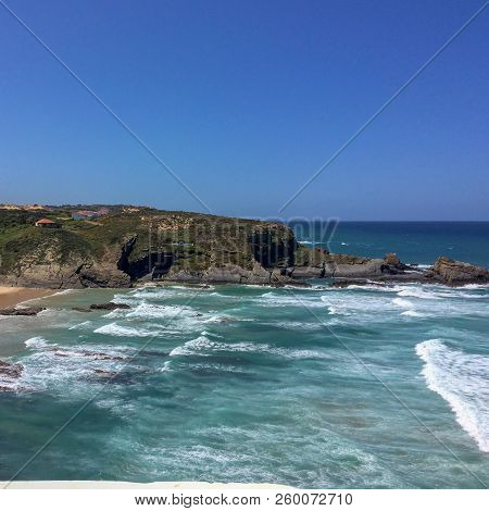 View Of The Sea, Sea Cliffs, Steep Cliffs, Hot Sunny Day, Clear Blue Sky, The Waters Of The Atlantic