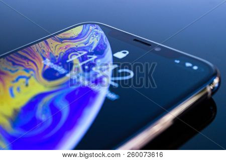 Paris, France - Sep 25, 2018: Detail Of The New Iphone Xs And Xs Max Smartphone Model By Apple Compu