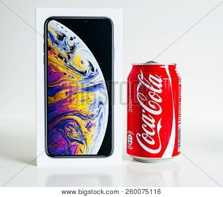 Paris, France - Sep 25, 2018: New Iphone Xs And Xs Max Smartphone Model By Apple Computers Close Up