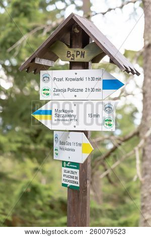 ZAWOJA, POLAND  - SEPTEMBER 16, 2018: Hiking trail signpost in Polish Beskid Mountains with trails direction to Babia Gora Mountain, Markowe Szczawy shelter and Krowiarki Pass.