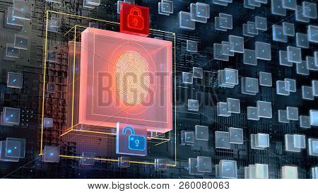3d Image Of Blockchain Abstract Background With Big Digital Fingerprint Authorisation Block And Two