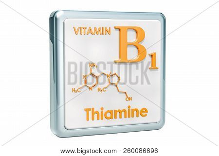 Vitamin B1, Thiamine. Icon, Chemical Formula, Molecular Structure On White Background. 3d Rendering