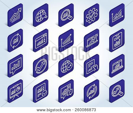 Analysis, Statistics Line Icons. Set Of Charts, Reports And Graphs Signs. Data, Presentation And Com
