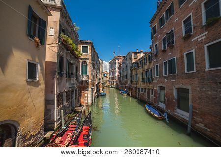 Venetial Canal And Antic Buildings. View On Rio S.polo From Calle Dei Saoneri