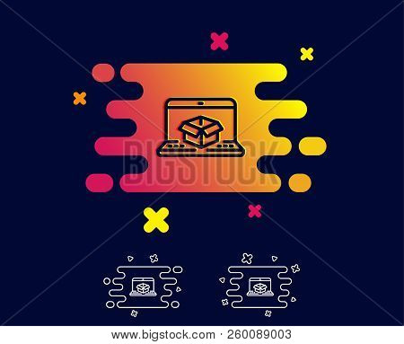 Online Delivery Line Icon. Parcel Tracking Sign. Logistics Website Symbol. Gradient Banner With Line