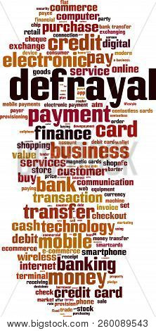 Defrayal Word Cloud Concept. Vector Illustration On White