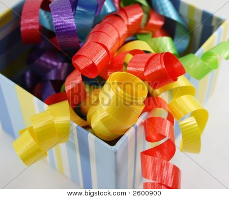 Colorful Curly Ribbon In Striped Box