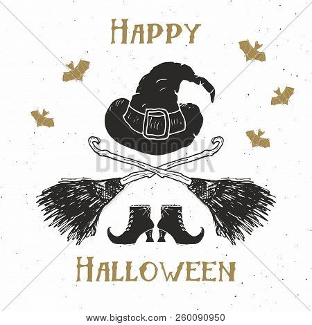 Halloween Greeting Card Vintage Label, Hand Drawn Sketch Witch Items, Grunge Textured Retro Badge, T